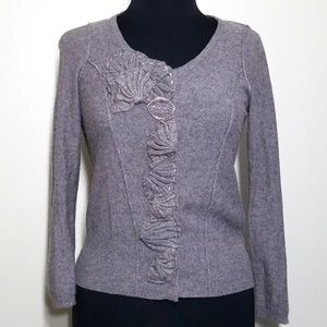 Anthro Sparrow Cardigan Sweater Ruffle Floral Snap